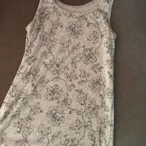Tops - Gray and black floral tank top.
